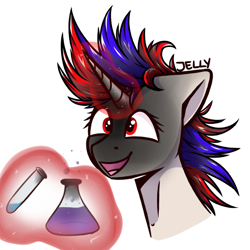 Size: 628x628 | Tagged: safe, artist:jellysiek, oc, oc:snowi, unicorn, blue hair, experiment, explosion, female, glowing horn, head, horn, magic, magic aura, mare, red and blue, red eyes, red hair, smiling, white pony