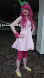 Size: 2592x4608 | Tagged: safe, gummy, pinkie pie, human, bronycon, bronycon 2014, clothes, cosplay, costume, hand on hip, irl, irl human, photo, plushie