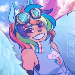 Size: 700x700   Tagged: safe, artist:yuihopes, rainbow dash, human, clothes, cutie mark, cutie mark on clothes, ear fluff, eared humanization, female, goggles, humanized, looking at you, redraw, sleeveless, smiling, solo, starry eyes, wingding eyes, winged humanization, wings