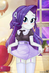 Size: 842x1246   Tagged: safe, artist:charliexe, rarity, equestria girls, belt, blushing, clothes, cute, dress, eyeshadow, female, garter straps, garters, looking at you, maid, maidity, makeup, raribetes, skirt, smiling, smiling at you, solo, stockings, thigh highs