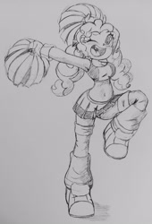 Size: 2604x3837 | Tagged: safe, artist:shadowhawx95, pinkie pie, equestria girls, armpits, breasts, cheerleader, clothes, leg warmers, midriff, one eye closed, pigtails, pom pom, sketch, skirt, solo, traditional art, twintails, wink