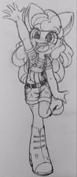 Size: 1485x3367 | Tagged: safe, artist:shadowhawx95, apple bloom, equestria girls, bow, freckles, raised arm, sketch, smiling, solo, suspenders, traditional art