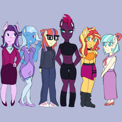 Size: 2048x2048   Tagged: safe, artist:mintymelody, coco pommel, fizzlepop berrytwist, moondancer, starlight glimmer, sunset shimmer, tempest shadow, trixie, anthro, plantigrade anthro, converse, female, females only, shoes