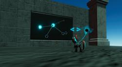 Size: 864x474   Tagged: safe, artist:singularmj, oc, oc:horizon, pony, unicorn, artifact, constellation, game development