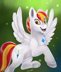 Size: 3000x3500   Tagged: safe, artist:tehtigress, oc, oc:shining sky, pegasus, pony, commission, looking at you, male, open mouth, pegasus oc, smiling, solo, solo male, tail, wings, ych result