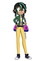 Size: 1448x1978 | Tagged: safe, artist:skyfallfrost, oc, oc:hazel (skyfallfrost), equestria girls, belly button, clothes, converse, female, jacket, midriff, pants, shirt, shoes, simple background, sneakers, solo, transparent background