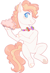 Size: 500x726   Tagged: safe, artist:lavvythejackalope, oc, oc only, earth pony, pony, bowtie, earth pony oc, food, grin, hoof hold, hoof polish, male, pie, simple background, smiling, solo, stallion, transparent background