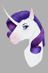 Size: 545x828   Tagged: safe, artist:eperyton, rarity, pony, unicorn, bust, eyelashes, female, gray background, hoers, horn, makeup, mare, simple background, solo