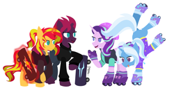 Size: 3337x1694   Tagged: safe, artist:samsailz, fizzlepop berrytwist, starlight glimmer, sunset shimmer, tempest shadow, trixie, pony, unicorn, :p, alternate hairstyle, babysitter trixie, beanie, broken horn, clothes, counterparts, equestria girls outfit, eye scar, female, handstand, happy, hat, hoodie, horn, levitation, lineless, magic, magic aura, mare, quartet, reformed unicorn meeting, reformed villain, roller skates, scar, simple background, skateboard, skates, smiling, telekinesis, tongue out, trick, twilight's counterparts, upside down, white background
