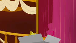Size: 1280x720   Tagged: safe, screencap, slice of life (episode), background, bell, box, curtain, liminal space, no pony, ponyville town hall, scenic ponyville