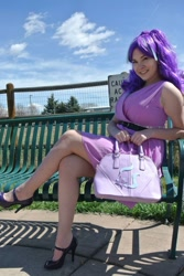 Size: 1178x1759   Tagged: safe, artist:lochlan o'neil, starlight glimmer, human, bench, clothes, cosplay, costume, crossed legs, high heels, irl, irl human, photo, purse, shoes, sitting