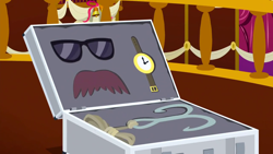 Size: 1280x720   Tagged: safe, screencap, slice of life (episode), background, facial hair, glasses, grappling hook, moustache, no pony, ponyville town hall, scenic ponyville, suitcase, watch