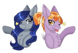 Size: 1249x843   Tagged: safe, artist:inspiredpixels, oc, oc only, pony, bust, chest fluff, duo, one eye closed, signature, simple background, transparent background