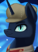 Size: 156x210   Tagged: safe, artist:josipbrozbeforehoes, artist:mustaphatr, derpibooru exclusive, nightmare moon, alicorn, pony, equestria at war mod, communism, hammer and horseshoe, solo