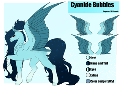 Size: 4961x3508 | Tagged: safe, artist:oneiria-fylakas, oc, oc:cyanide bubbles, pegasus, pony, female, mare, reference sheet, solo