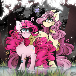 Size: 2500x2500   Tagged: safe, artist:its_sunsetdraws, fluttershy, pinkie pie, butterfly, earth pony, pegasus, friendship is magic, reflections, spoiler:comic, bandaid, confetti, cutie mark, digital art, fanart, forest, forest background, long mane, poofy mane, reflection, reflective floor, tree, water