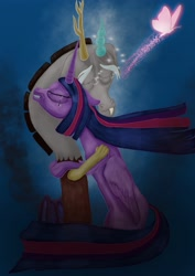 Size: 2480x3508 | Tagged: safe, artist:short tale, discord, pinkie pie, twilight sparkle, alicorn, butterfly, cloud, cover art, crying, digital art, female, hugging a pony, lesbian, sad, shipping, smoke, sparkles, twilight sparkle (alicorn), twinkie