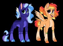 Size: 2178x1582 | Tagged: safe, artist:moccabliss, oc, oc:opal dusk, oc:phoenix blaze, pegasus, pony, unicorn, female, magical lesbian spawn, offspring, parent:rainbow dash, parent:sunset shimmer, parents:sunsetdash, teenager