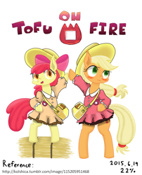 Size: 800x988 | Tagged: safe, artist:ttpercent, apple bloom, applejack, clothes, female, filly, hay bale, mare, siblings, standing on two hooves