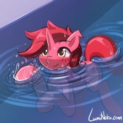 Size: 750x750 | Tagged: safe, artist:lumineko, oc, unicorn, solo, swimming