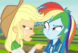 Size: 1309x891 | Tagged: safe, applejack, rainbow dash, equestria girls, equestria girls series, holidays unwrapped, rainbow rocks, spoiler:eqg series (season 2), angry, argument, geode of super speed, magical geodes, pointing, rainbow dash is not amused, unamused