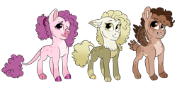 Size: 3081x1475   Tagged: safe, artist:moccabliss, oc, oc only, oc:rocky road, oc:strawberry shake, oc:vanilla bean, hippogriff, hybrid, fledgeling, interspecies offspring, magical lesbian spawn, offspring, parent:gilda, parent:pinkie pie, parents:gildapie, simple background, transparent background
