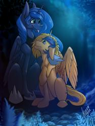 Size: 3000x4000   Tagged: safe, artist:stirren, princess luna, oc, oc:wartex shine, alicorn, pony, alicorn oc, horn, hug, night, solo, wings