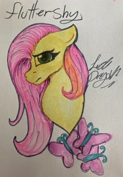 Size: 2749x3916   Tagged: safe, artist:yayeet12369, fluttershy, pegasus, pony, bust, solo, traditional art