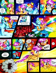 Size: 2758x3568 | Tagged: safe, artist:liaaqila, fluttershy, lotus blossom, rainbow dash, scootaloo, pegasus, pony, adorable distress, blindfold, cannon, circus, comic, cute, funny, hay, mailbox, pony cannonball, scootaloo can fly, scootalove, silly