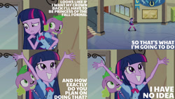 Size: 1280x720 | Tagged: safe, edit, edited screencap, editor:quoterific, screencap, spike, twilight sparkle, dog, equestria girls, equestria girls (movie), backpack, boots, canterlot high, clothes, cute, cutie mark, cutie mark on clothes, female, grin, lip bite, male, shoes, smiling, spike the dog, twiabetes