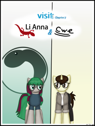 Size: 1750x2333 | Tagged: safe, artist:99999999000, oc, oc only, oc:cwe, oc:li anna, gecko, pony, comic:visit, clothes, comic, female, glasses, male