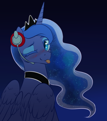 Size: 1280x1440   Tagged: safe, artist:ghoasthead, princess luna, alicorn, pony, gamer luna, :p, abstract background, blushing, cute, ethereal mane, female, headphones, looking back, lunabetes, mare, one eye closed, solo, starry mane, tongue out, wings, wink