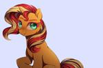 Size: 1280x848 | Tagged: safe, artist:ghoasthead, sunset shimmer, pony, unicorn, female, mare, simple background, sitting, smiling, solo, white background
