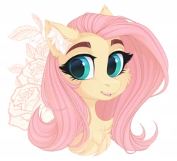 Size: 2490x2270 | Tagged: safe, artist:vird-gi, fluttershy, pegasus, pony, cheek fluff, chest fluff, ear fluff, flower, looking at you, smiling