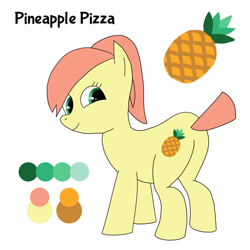 Size: 1280x1280 | Tagged: safe, artist:pi, oc, oc only, oc:pineapple pizza, earth pony, pony, butt, chubby, colored, cutie mark, female, flat colors, food, mare, pineapple, plot, ponytail, reference sheet, short tail, simple background, solo, white background