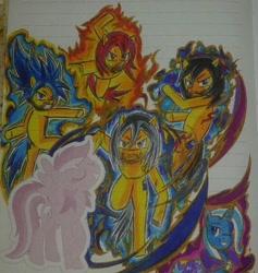 Size: 750x790 | Tagged: safe, artist:karadeg, derpibooru exclusive, trixie, oc, oc:karadeg, crossover, dragon ball super, super saiyan blue, super saiyan god, ultra instinct