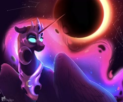 Size: 3000x2500 | Tagged: safe, artist:queendarkselis, nightmare moon, alicorn, pony, constellation, ear fluff, eclipse, ethereal mane, female, floppy ears, glowing eyes, high res, mare, moon, solar eclipse, solo, starry mane, stars, sun