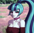 Size: 588x576 | Tagged: safe, artist:nairdags, sonata dusk, equestria girls, bare shoulders, beautiful, blue hair, blue skin, blurry background, breasts, bust, busty sonata dusk, choker, cleavage, eyelashes, eyeshadow, female, field, grass, grin, hair tie, lidded eyes, lips, looking at you, makeup, nature, outdoors, pink eyes, ponytail, portrait, scenery, smiling, smiling at you, solo, tree, two toned hair