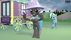 Size: 3413x1920 | Tagged: safe, artist:gradiusfanatic, trixie, oc, oc:andy, pony, unicorn, 3d, cape, clothes, female, hat, male, source filmmaker, trixie's cape, trixie's hat, trixie's wagon
