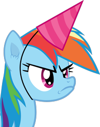 Size: 3000x3797 | Tagged: safe, artist:frownfactory, rainbow dash, pegasus, daring don't, faic, female, frown, hat, mare, party hat, simple background, solo, transparent background, vector