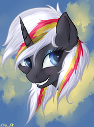Size: 670x906 | Tagged: safe, artist:kirasunnight, oc, oc:velvet remedy, pony, unicorn, fallout equestria, abstract background, bust, female, mare, portrait, smiling, solo