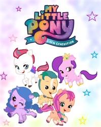Size: 711x891   Tagged: safe, hitch trailblazer, izzy moonbow, pipp petals, sunny starscout, zipp storm, earth pony, pegasus, pony, unicorn, g5, a new generation, female, male, mare, stallion
