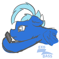 Size: 500x500   Tagged: safe, artist:exobass, oc, oc:exobass, pegasus, bust, colored sket, meh, pegasus oc, phone, sketch, wings