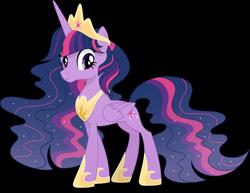Size: 6255x4839   Tagged: safe, artist:pumpkinpieforlife, twilight sparkle, alicorn, pony, the last problem, alternate hairstyle, crown, ethereal mane, eyelashes, female, hoof shoes, jewelry, mare, older, older twilight, peytral, princess twilight 2.0, regalia, simple background, solo, starry mane, transparent background, twilight sparkle (alicorn), vector