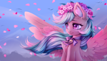 Size: 3500x2000 | Tagged: safe, artist:inowiseei, oc, oc only, oc:summer ray, pegasus, pony, bell, bust, cherry blossoms, commission, ear fluff, female, floral head wreath, flower, flower blossom, leaves, mare, portrait, solo, spread wings, windswept mane, wings