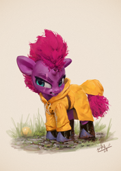 Size: 850x1200 | Tagged: safe, artist:assasinmonkey, tempest shadow, pony, unicorn, angry, ball, boots, broken horn, cute, female, grass, horn, madorable, mare, mud, raincoat, scar, shoes, younger