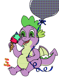 Size: 2250x2915   Tagged: safe, artist:puffydearlysmith, spike, dragon, balloon, chubby, fangs, food, happy, ice cream, ice cream cone, male, open mouth, simple background, tongue out, transparent background, winged spike