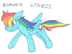 Size: 1152x866 | Tagged: safe, artist:cmara, rainbow dash, pegasus, pony, female, mare, simple background, solo, traditional art, white background