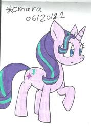 Size: 783x1102 | Tagged: safe, artist:cmara, starlight glimmer, pony, unicorn, female, mare, raised hoof, simple background, solo, traditional art, white background