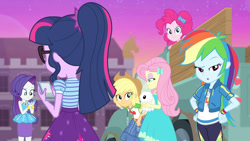 Size: 3410x1920   Tagged: safe, screencap, angel bunny, applejack, fluttershy, pinkie pie, rainbow dash, rarity, sci-twi, twilight sparkle, rabbit, equestria girls, equestria girls series, forgotten friendship, :o, animal, applejack's hat, belt, bracelet, cellphone, clothes, cowboy hat, cutie mark, cutie mark on clothes, denim skirt, female, geode of fauna, geode of shielding, geode of super speed, geode of super strength, glasses, hairpin, hat, high res, hoodie, humane five, humane six, jewelry, magical geodes, male, necklace, open mouth, phone, ponytail, rarity peplum dress, skirt, smartphone, smiling, sunset